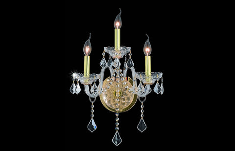 ZC121-V7853W3G/EC - Regency Lighting: Verona 3 light Gold Wall Sconce Clear Elegant Cut Crystal