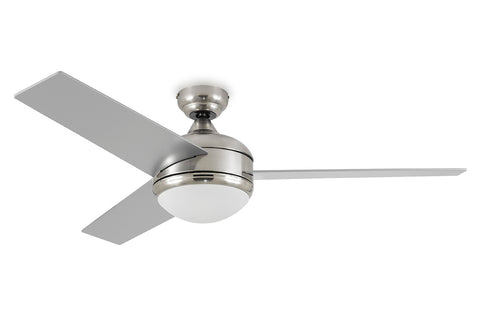 Brushed Steel Ceiling Fan - Integrated with 20W 3000k LED Light Kit - Indoor/Outdoor Ceiling Fan - G7-5126