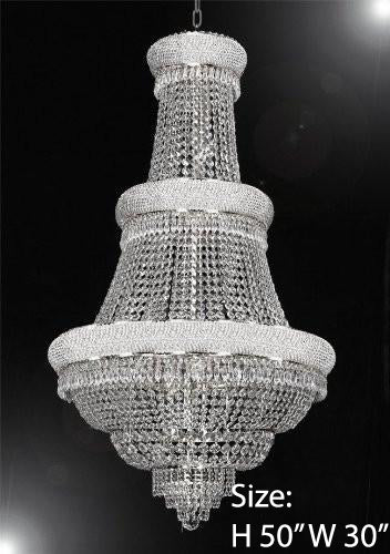 "Empire Chandelier Lighting W/ Swarovski Crystal 30""X50"" - Perfect For An Entryway Or Foyer - G93-Silver/448/21Sw"