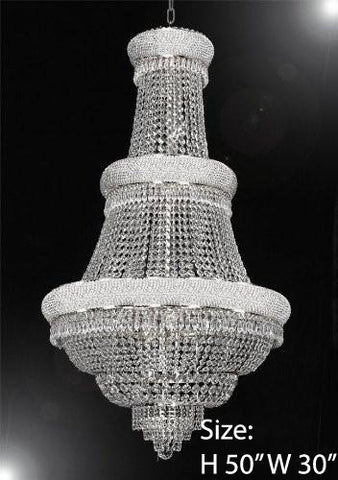 "French Empire Crystal Chandelier Lighting H50"" X W30"" - Perfect For An Entryway Or Foyer - Go-A93-Silver/448/21"