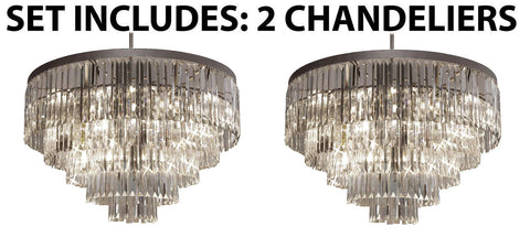"Set Of 2 - Palladium Empress Crystal (Tm) Glass Fringe Chandelier Lighting H 26"" W 31.5"" - G7-1157/17-Set Of 2"