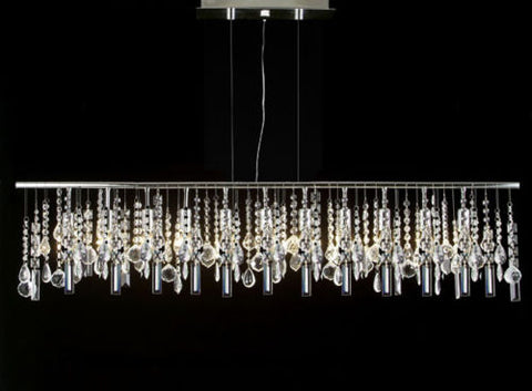 "Modern Contemporary Broadway Linear Crystal Chandelier Lighting Lamp 48"" Wide - GO-J10-26064/11"
