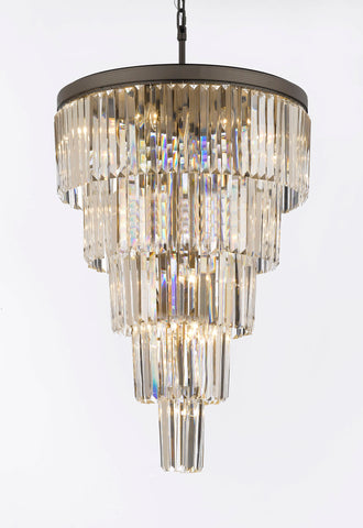 "Retro Palladium Crystal Glass Fringe 5 Tier Chandelier H 35"" W 26"" - A7-1100/24"