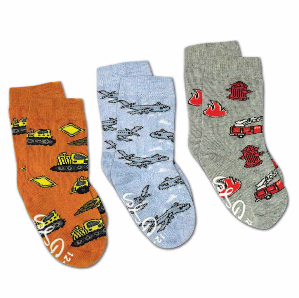 Airplanes, Construction and Firefighter Kids Socks