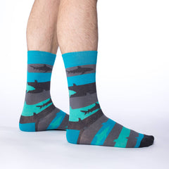 Men's King Size Aqua Shark Week Socks - Good Luck Sock