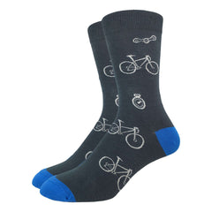 Men's Grey & Blue Bicycle Socks - Good Luck Sock
