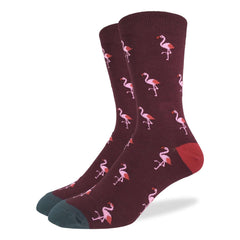 Men's King Size Pink Flamingo Party Socks - Good Luck Sock