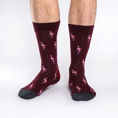 Men's Pink Flamingo Party Socks - Good Luck Sock