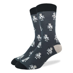 Men's King Size Grey Robot Socks - Good Luck Sock