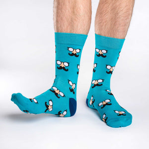 Men's Aqua Moustaches Socks