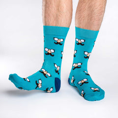 Men's Aqua Moustaches Socks - Good Luck Sock