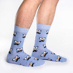 Men's Blue Moustache Socks - Good Luck Sock