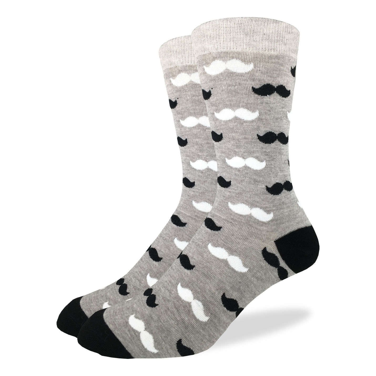 Men's Black & Grey Moustache Socks - Good Luck Sock