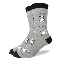 Men's King Size Yoga Pug Socks - Good Luck Sock