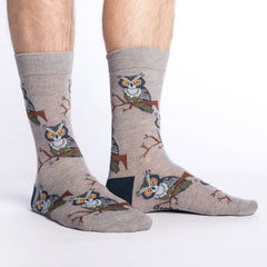 Men's Perching Owls Socks - Good Luck Sock