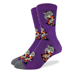 Men's Morning Coffee Cat Socks - Good Luck Sock