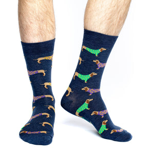 Men's Blue Wiener Dog Socks