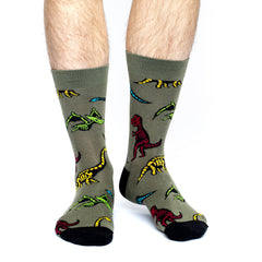 Men's Dinosaur Skeletons Socks - Good Luck Sock