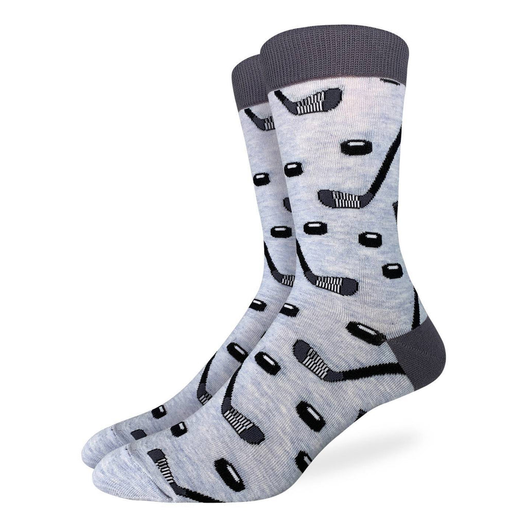 Men's King Size Hockey Sticks and Pucks Socks