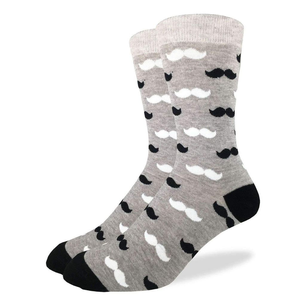 Men's King Size Black & Grey Moustache Socks