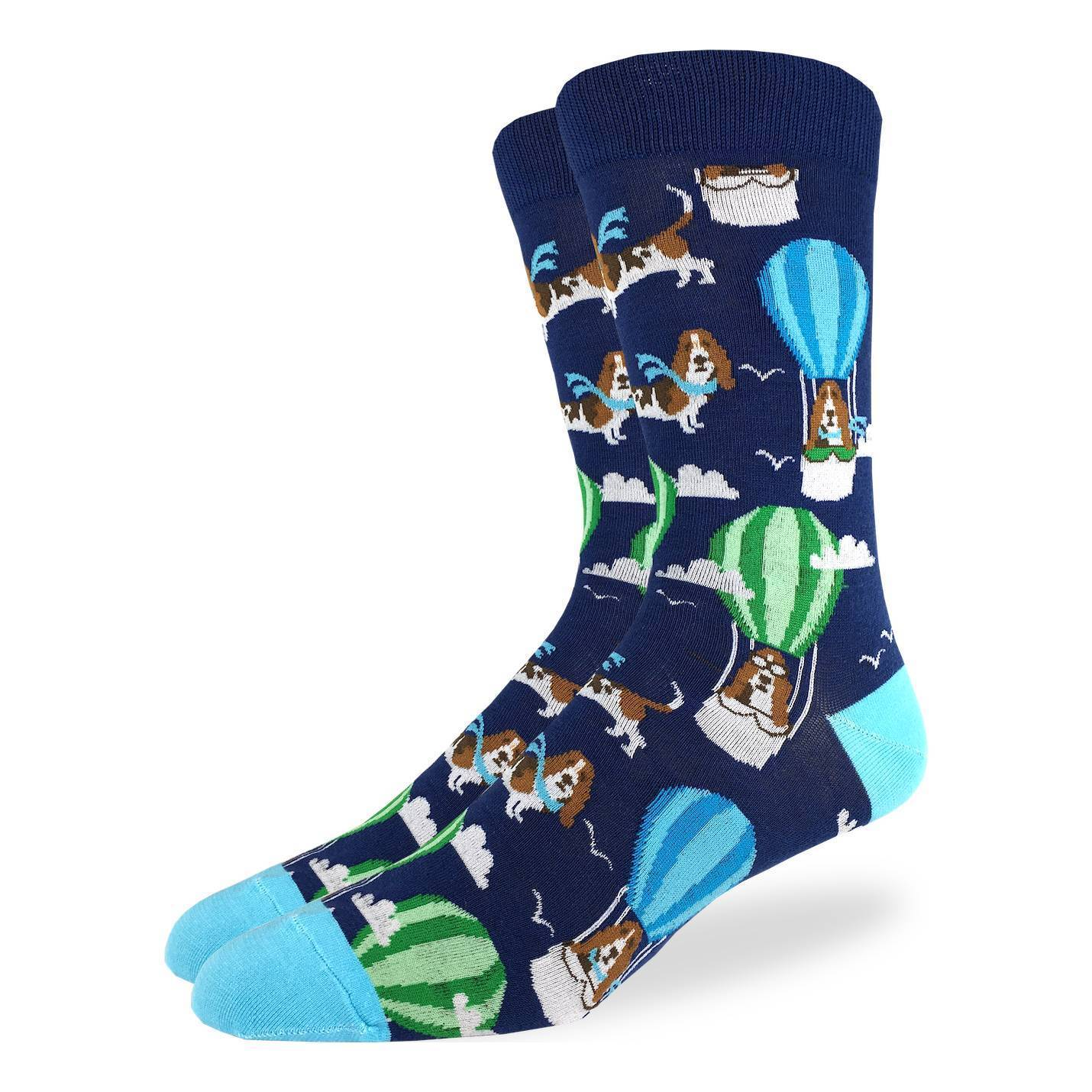 Men's King Size Basset Hound in Air Balloon Socks - Good Luck Sock