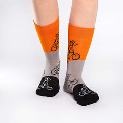 Women's Orange Dogs Riding Bikes Socks - Good Luck Sock