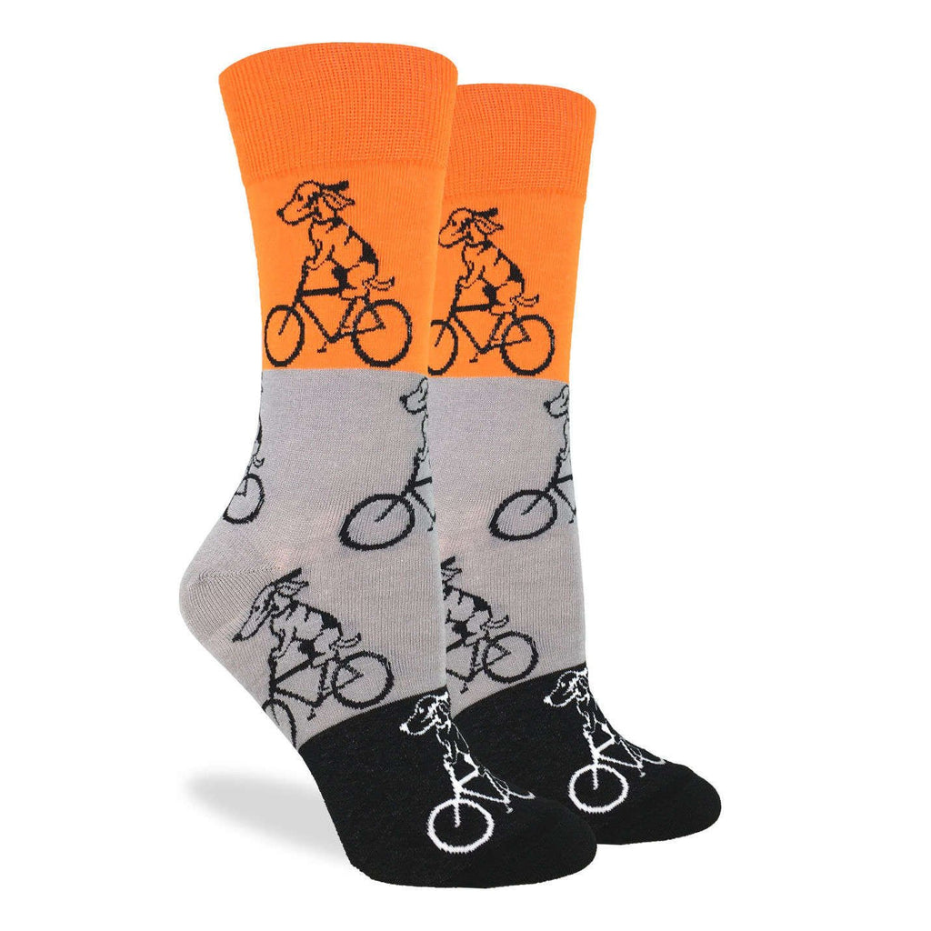 Women's Orange Dogs Riding Bikes Socks