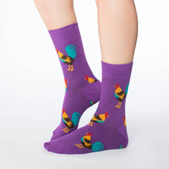 Women's Purple Rooster Socks - Good Luck Sock