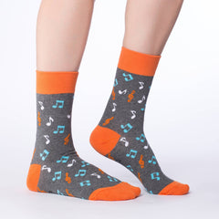 Women's Orange Music Notes Socks - Good Luck Sock