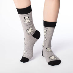 Women's Yoga Pug Socks - Good Luck Sock