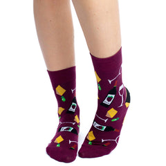 Women's Wine & Cheese Socks - Good Luck Sock