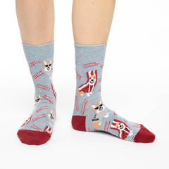 Women's Corgi Bacon Socks - Good Luck Sock