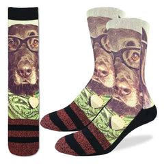Men's Hipster Dog Socks - Good Luck Sock