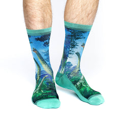 Men's Brachiosaurus Dinosaur Socks - Good Luck Sock