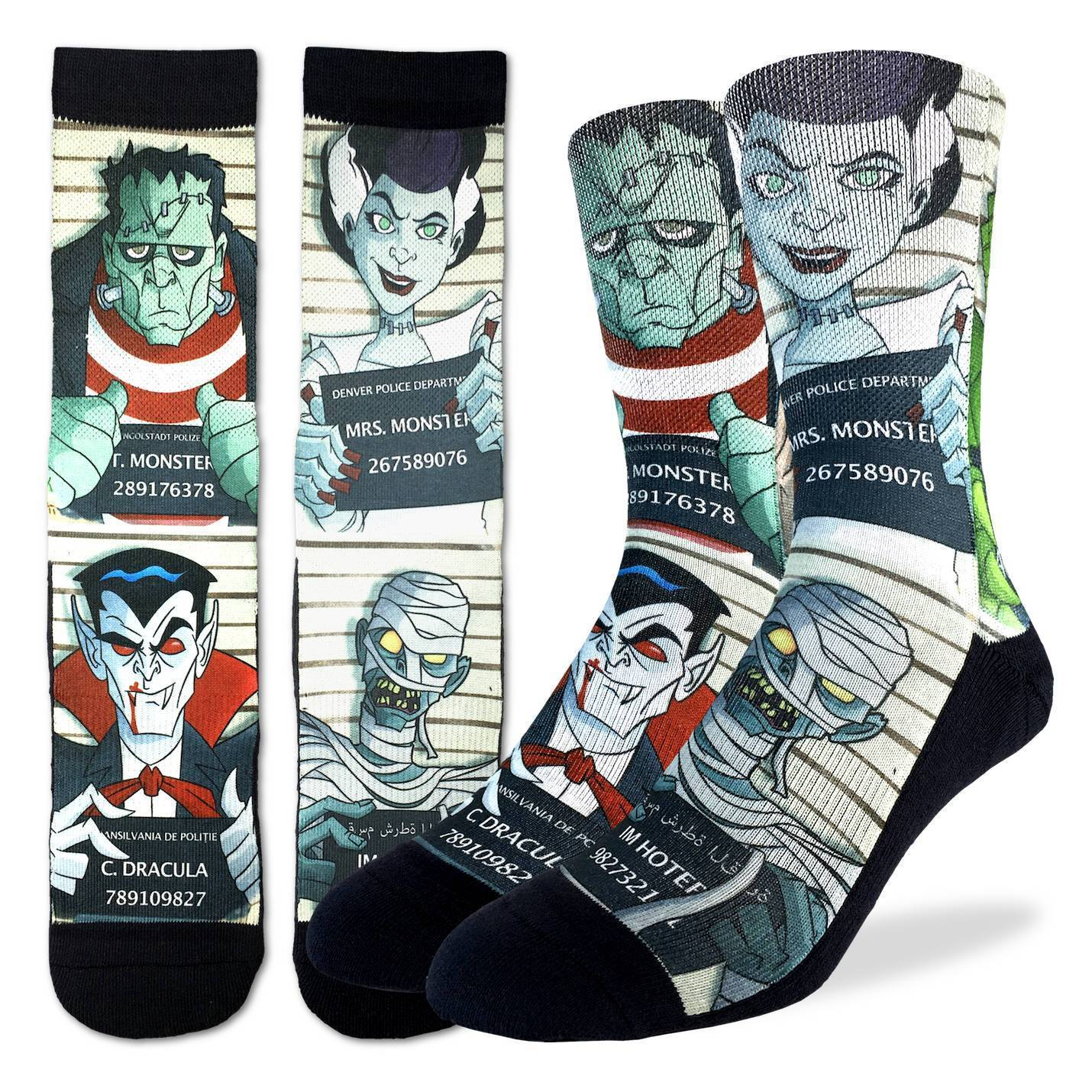 Men's Halloween Mugshots Socks - Good Luck Sock