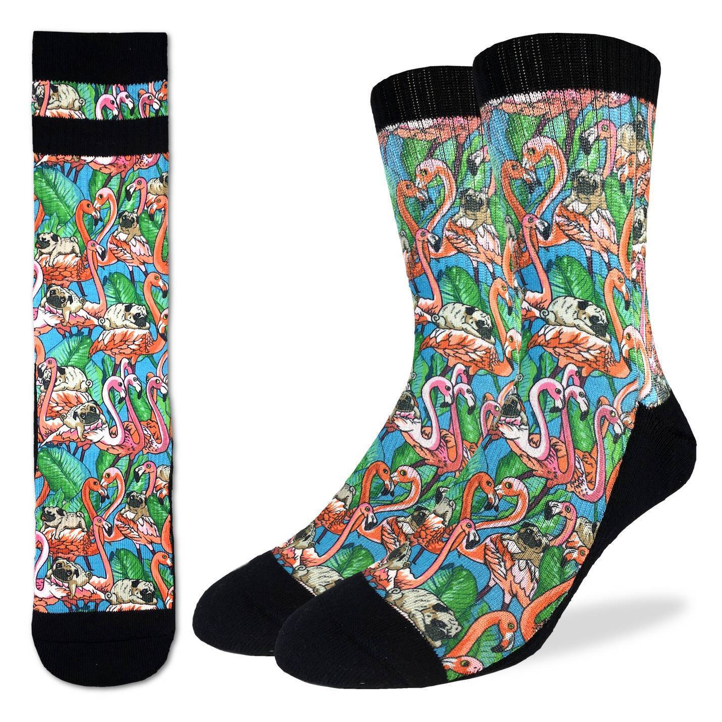 Men's Pugs & Flamingos Socks - Good Luck Sock