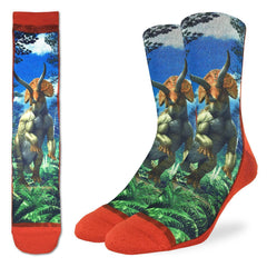 Men's Triceratops Dinosaur Socks - Good Luck Sock