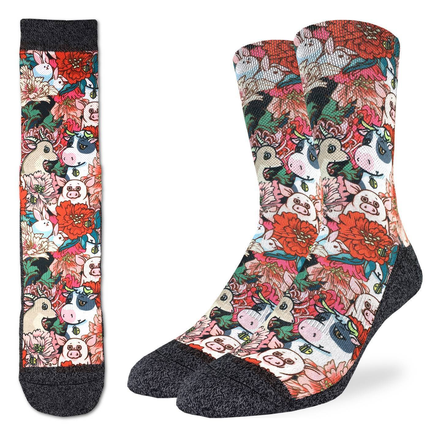 Men's Floral Farm Socks - Good Luck Sock