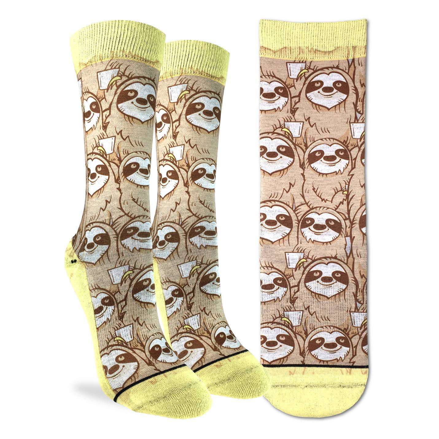 Women's Coffee Sloth Socks - Good Luck Sock