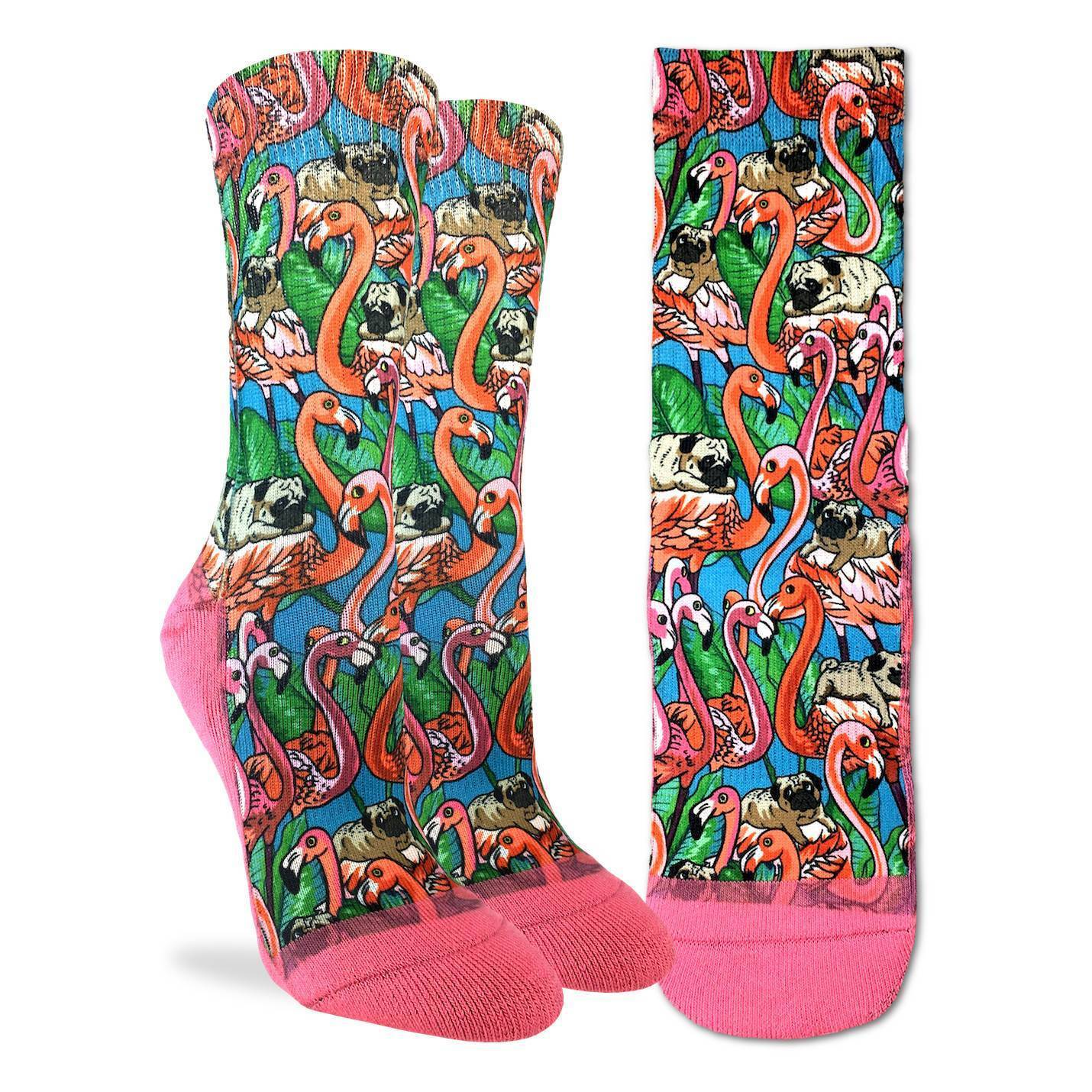 Women's Pugs & Flamingos Socks - Good Luck Sock
