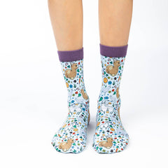 Women's Floral Llamas Socks - Good Luck Sock
