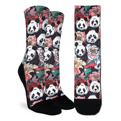 Women's Floral Pandas Socks - Good Luck Sock