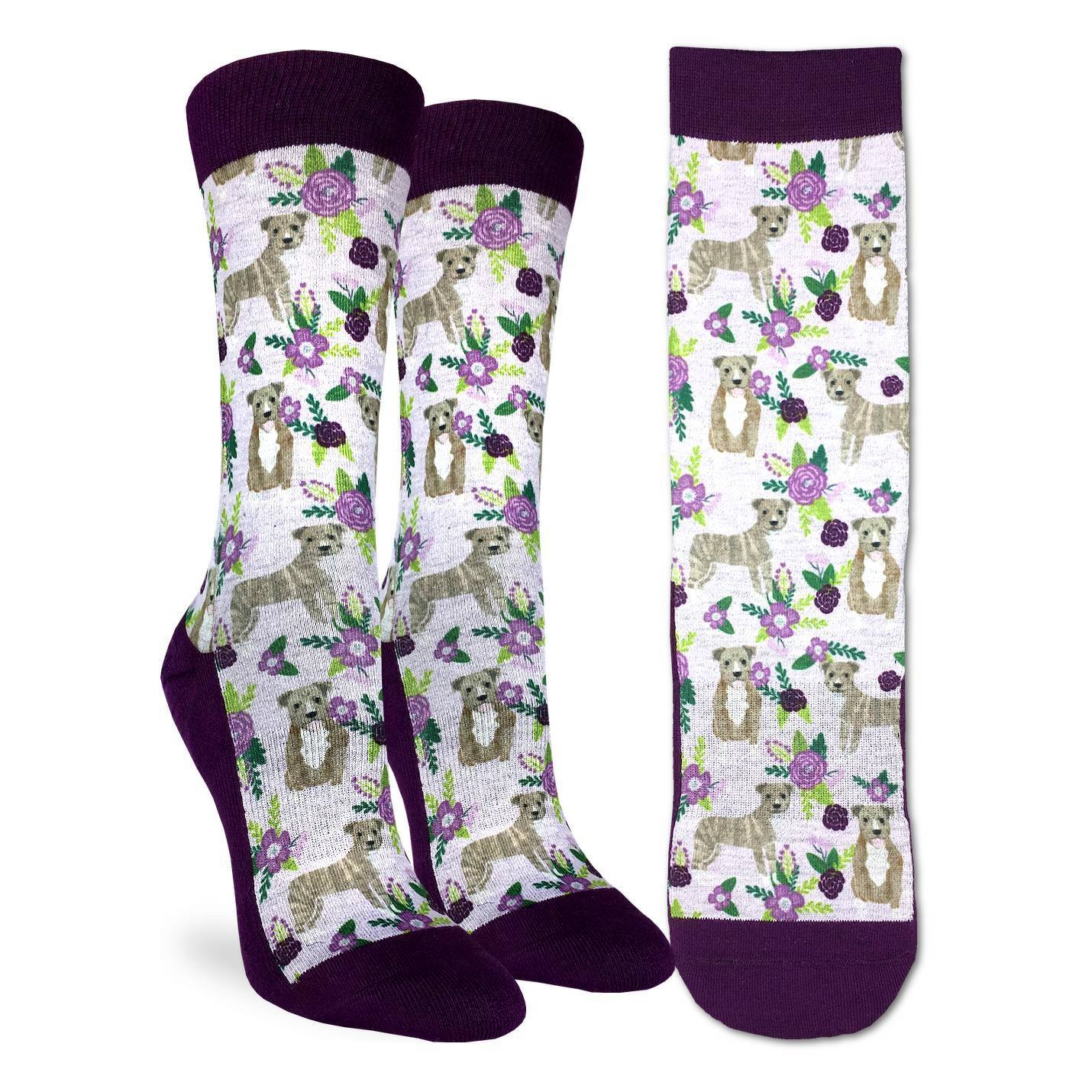 Women's Floral Pit Bull Socks - Good Luck Sock