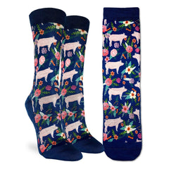 Women's Floral Pigs Socks - Good Luck Sock