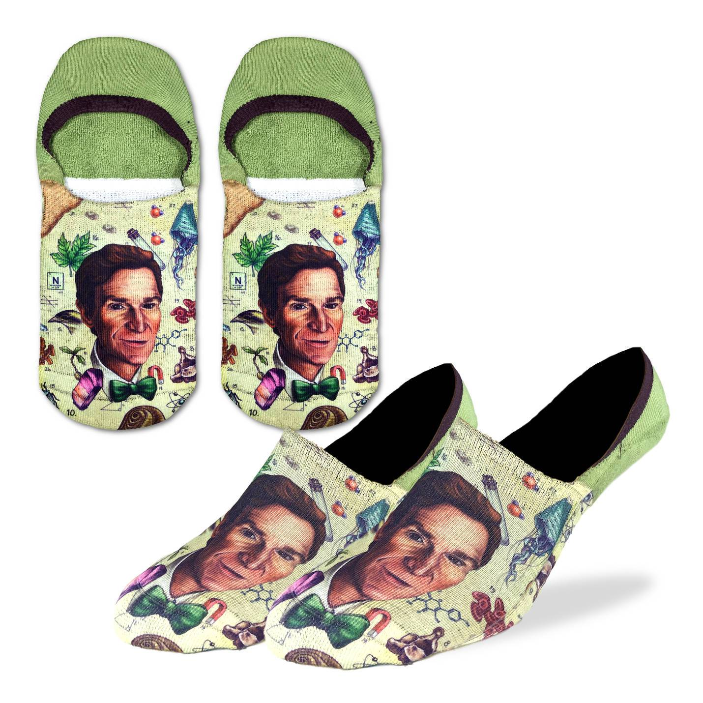 Men's Bill Nye No Show Socks - Good Luck Sock