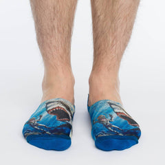 Men's Shark Attack No Show Socks - Good Luck Sock