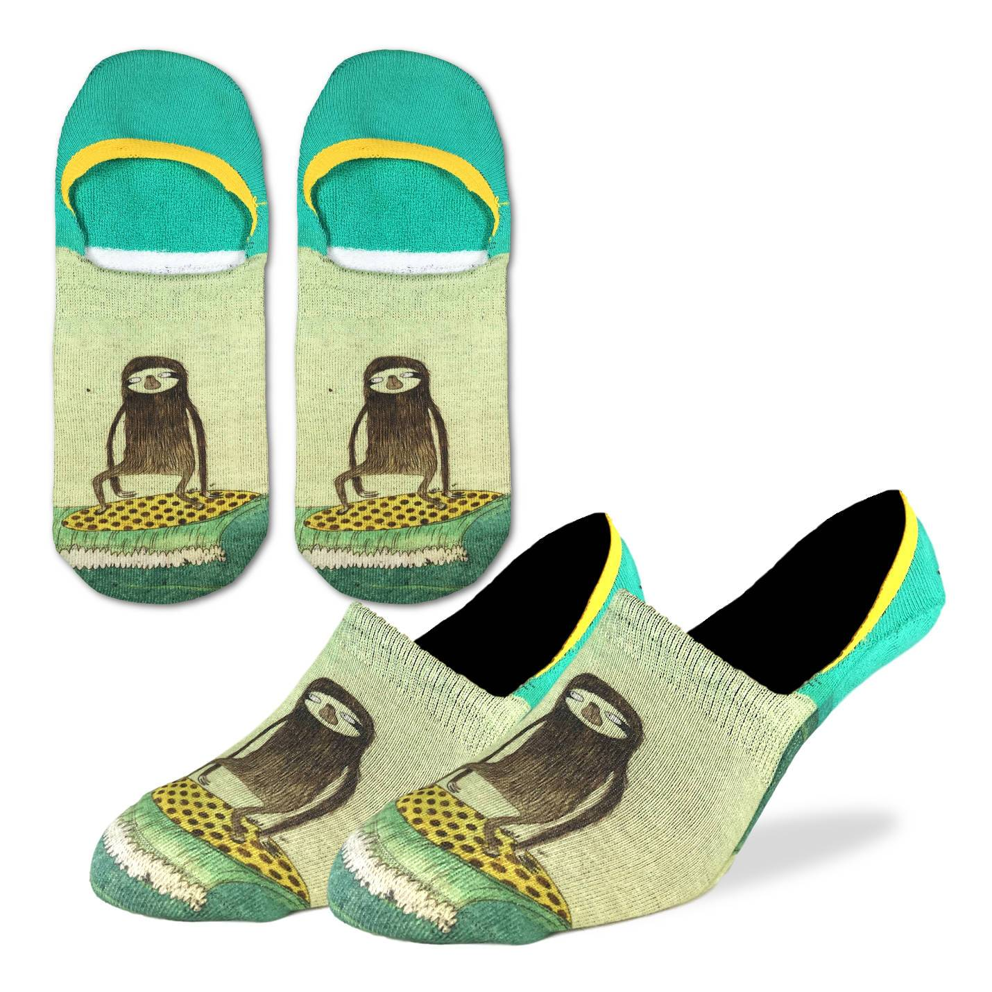 Men's Surfing Sloth No Show Socks - Good Luck Sock