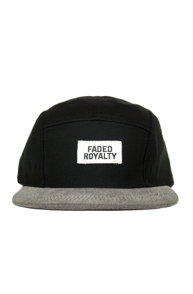 BLACK WOVEN 5 PANEL HAT