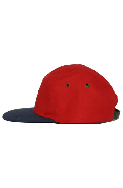 RED / NAVY WOVEN 5 PANEL