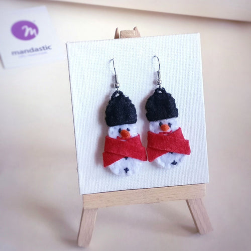 Snowman, Christmas, Felt Dangle Earrings